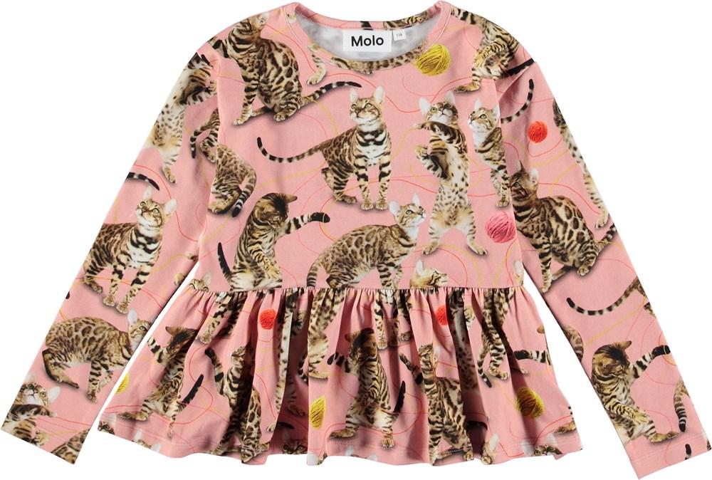 Rasyma - Wannabe Leopard - Lyserød bluse med katte