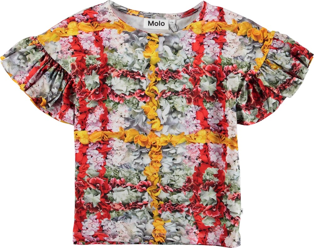 Rayah - Checked Flowers - T-shirt med blomster.