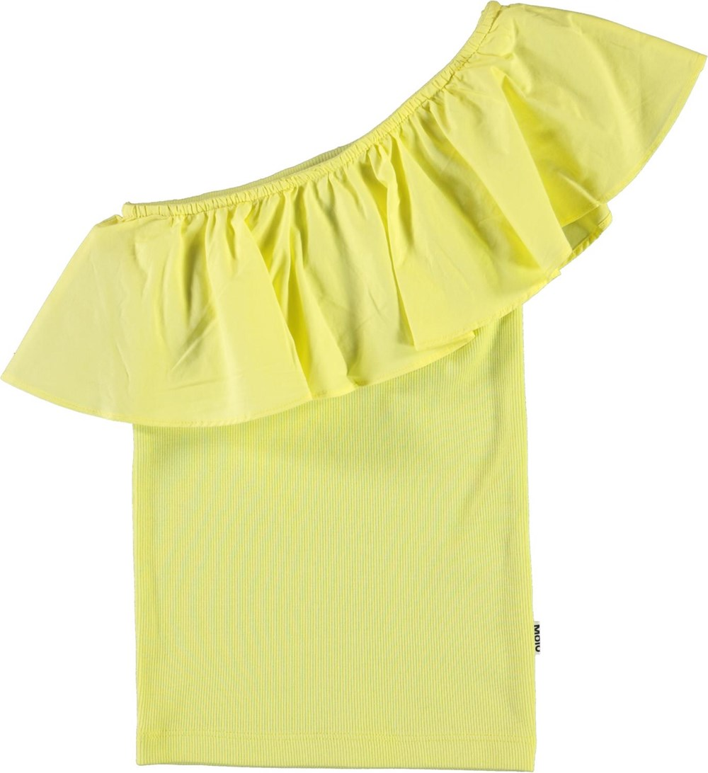 Rebecca - Pale Lemon - Økologisk gul skrå top
