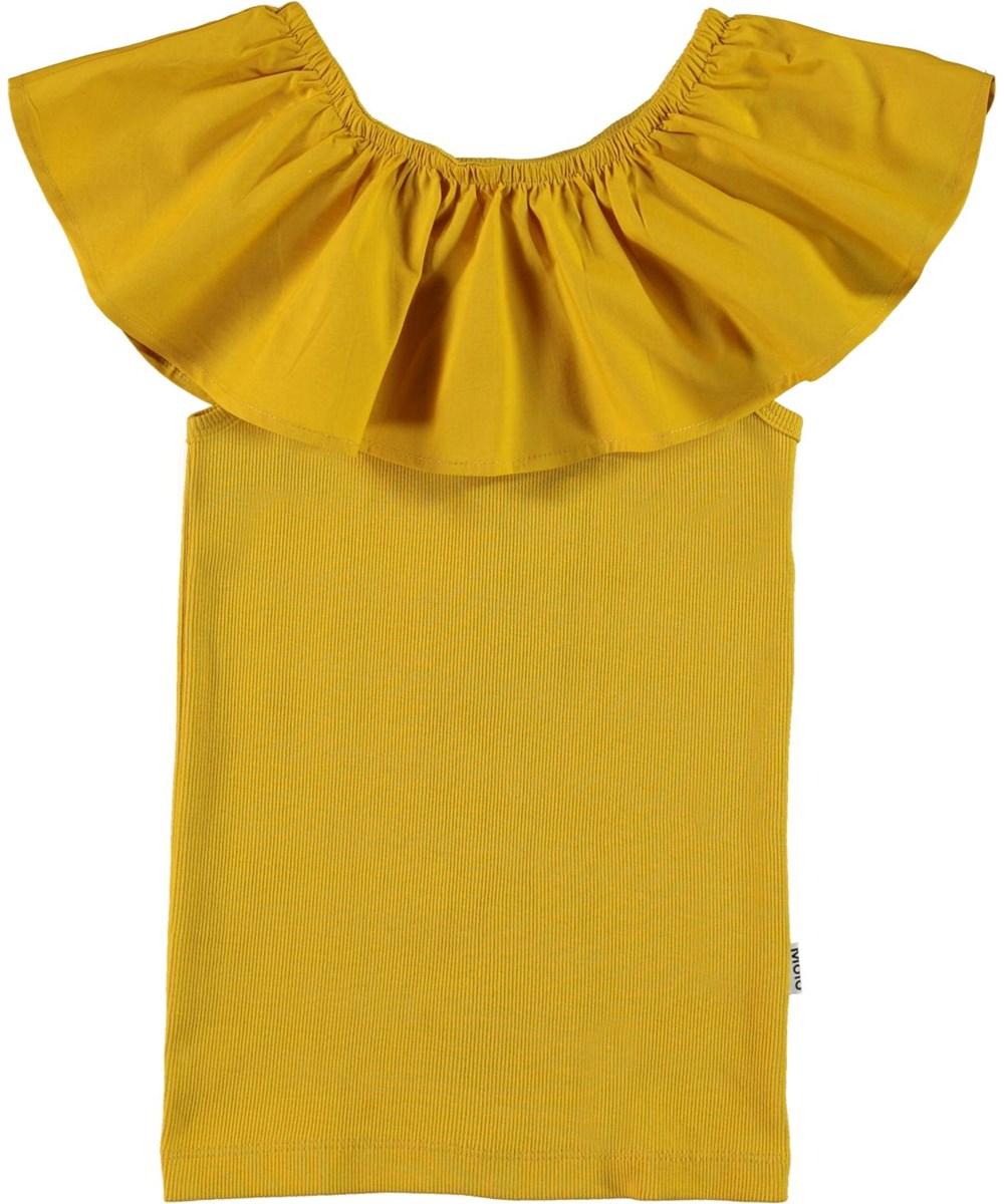 Reca - Nugget Gold - Økologisk gylden tanktop med flæsekant