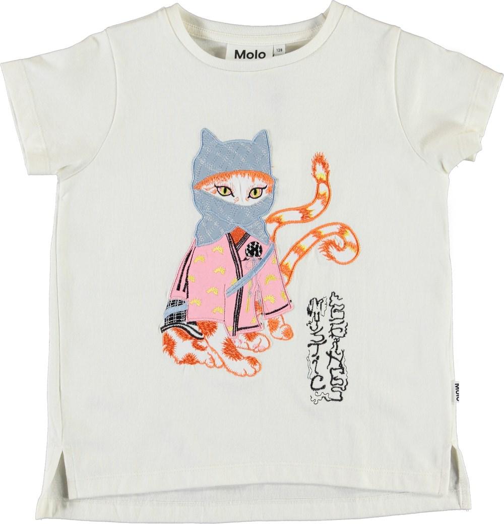Reenasa - Ninja Kitty - Økologisk hvid t-shirt med ninja kat