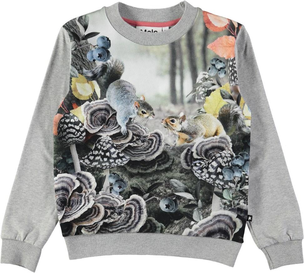 Regine - Forest Squirrels - Langærmet, grå bluse med digitalprinted egern
