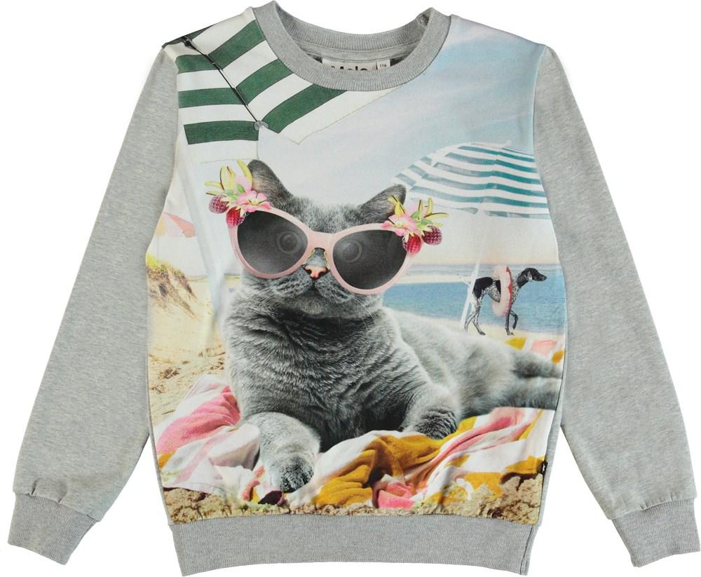 Regine - Vacation Pets - Langærmet bluse med dyr på stranden.