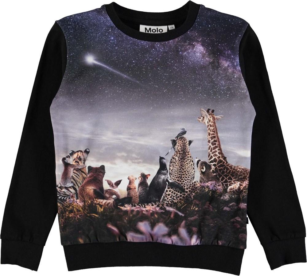 Regine - Wish Upon A Star - Langærmet, sort bluse med digitalprintede dyr og stjernehimmel