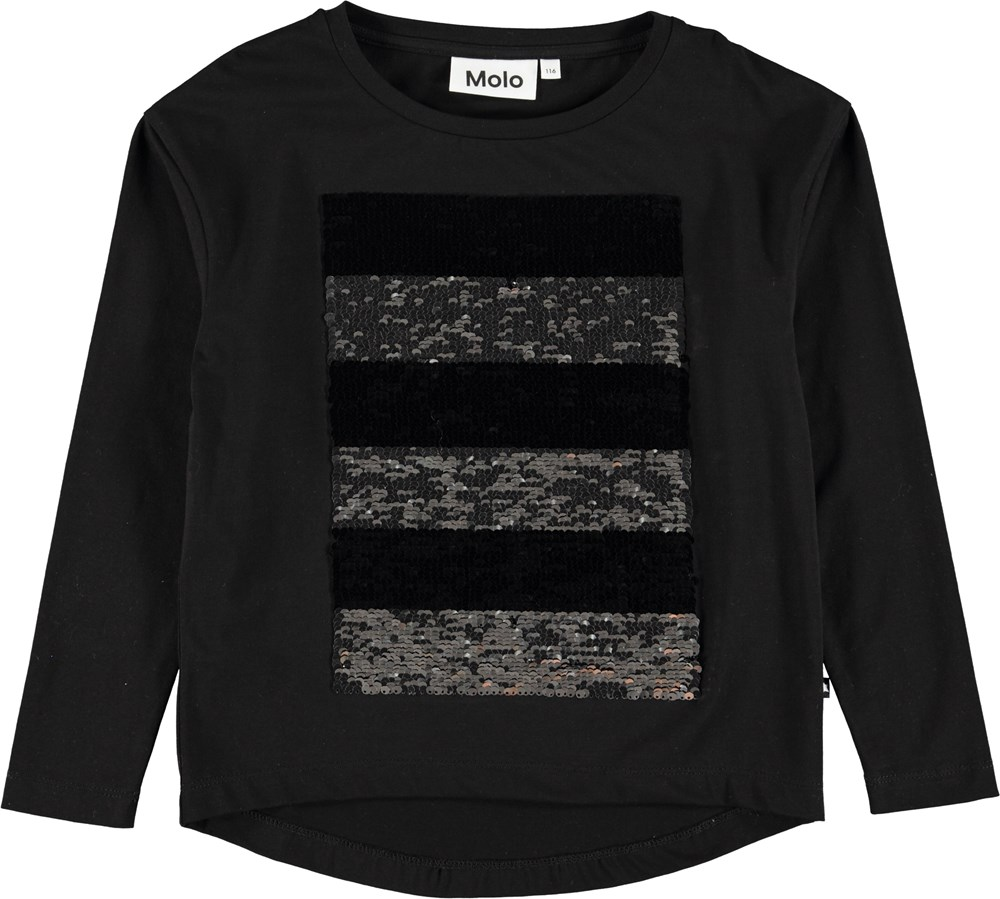 Rejoice - Black - Sort bluse med pailletter