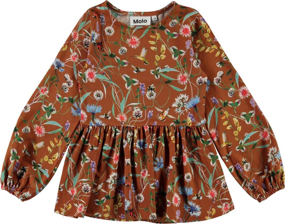 Renae - Wildflowers - Økologisk brun bluse med blomster