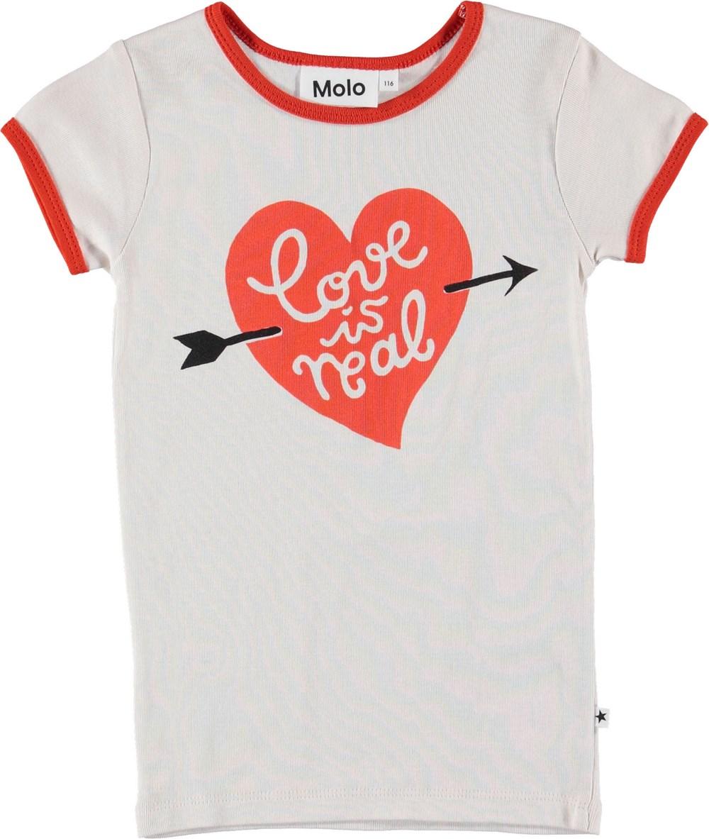 Rhiannon - Parchment - Hvid t-shirt med rødt hjerte.