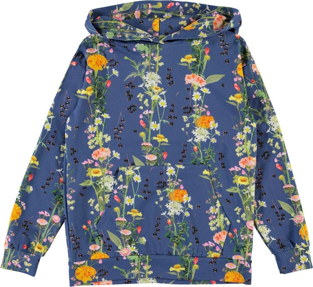 Rhona - Vertical Flowers - Økologisk blå hættetrøje med blomster
