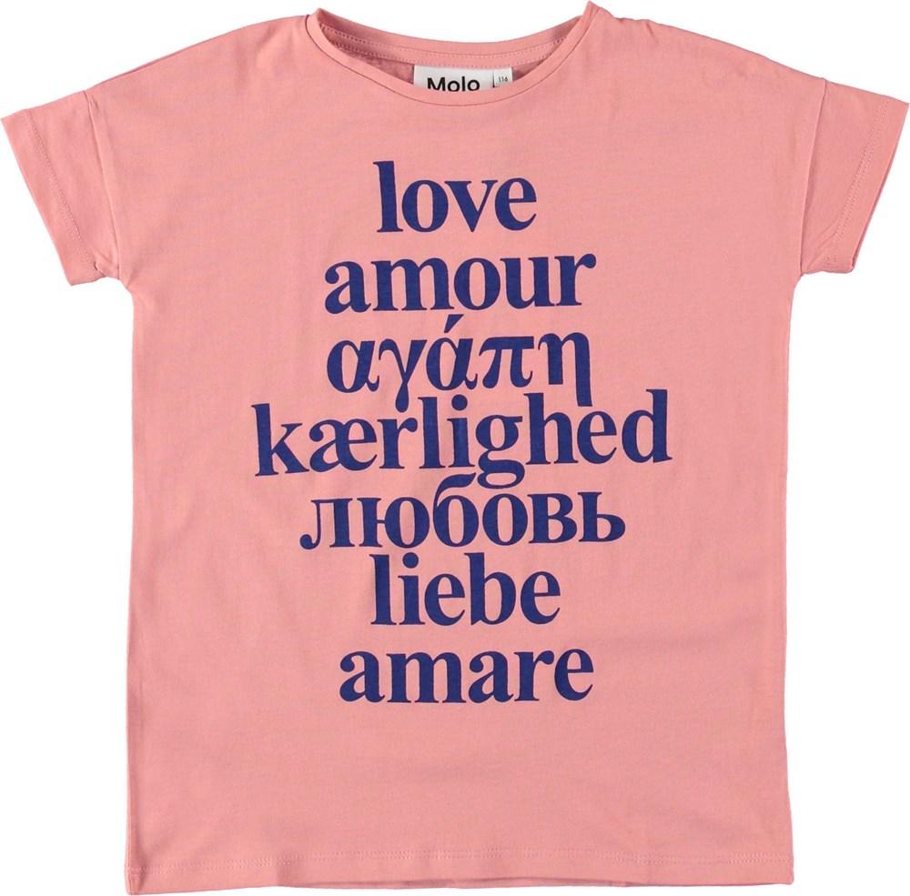 Rilla - Rosewater - Lyserød t-shirt med tekst.