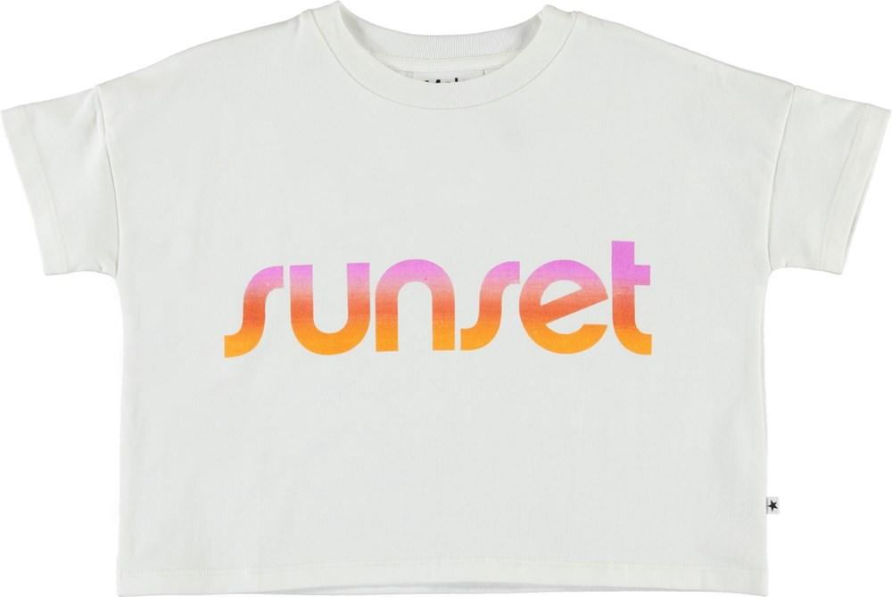 Rillosa - White Star - Økologisk sunset crop t-shirt