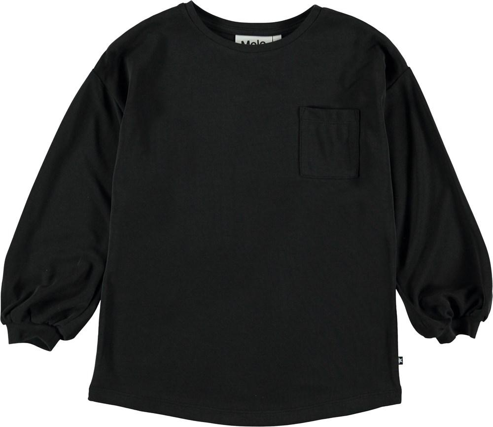 Rine - Black - Sort bluse med pufærmer.
