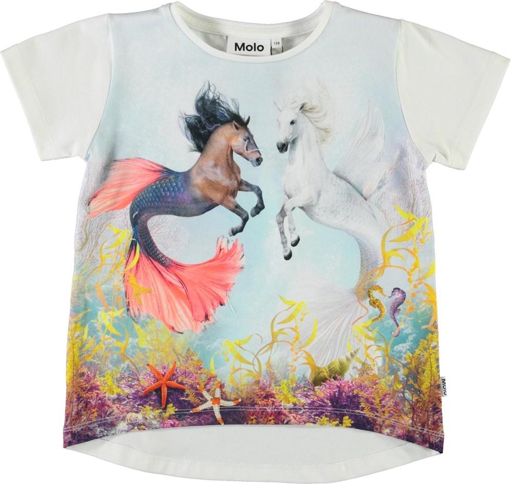 Risha - Sea Ponies - Økologisk t-shirt med hav og heste print