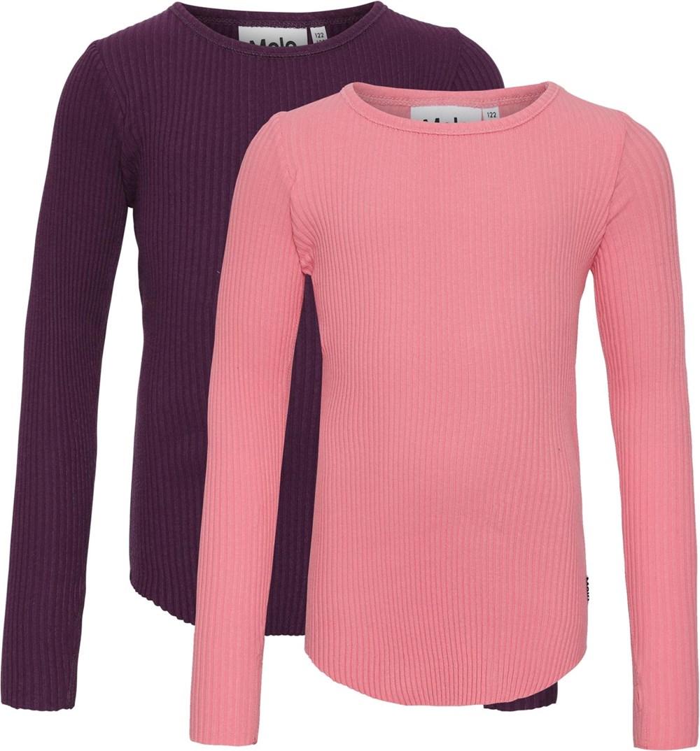 Rochelle 2-Pack - Berry Hyper - Økologisk 2 bluser pink og lilla