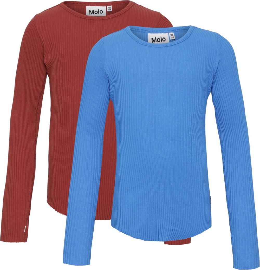 Rochelle 2-Pack - Blue Bossa - Økologisk 2 bluser blå og rød