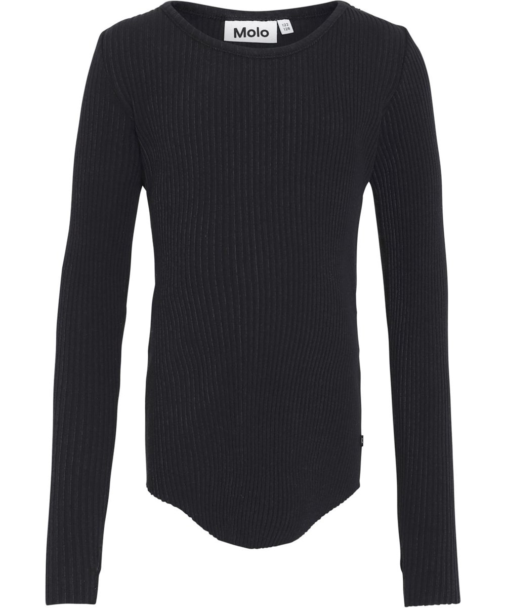 Rochelle - Black - Økologisk sort rib bluse