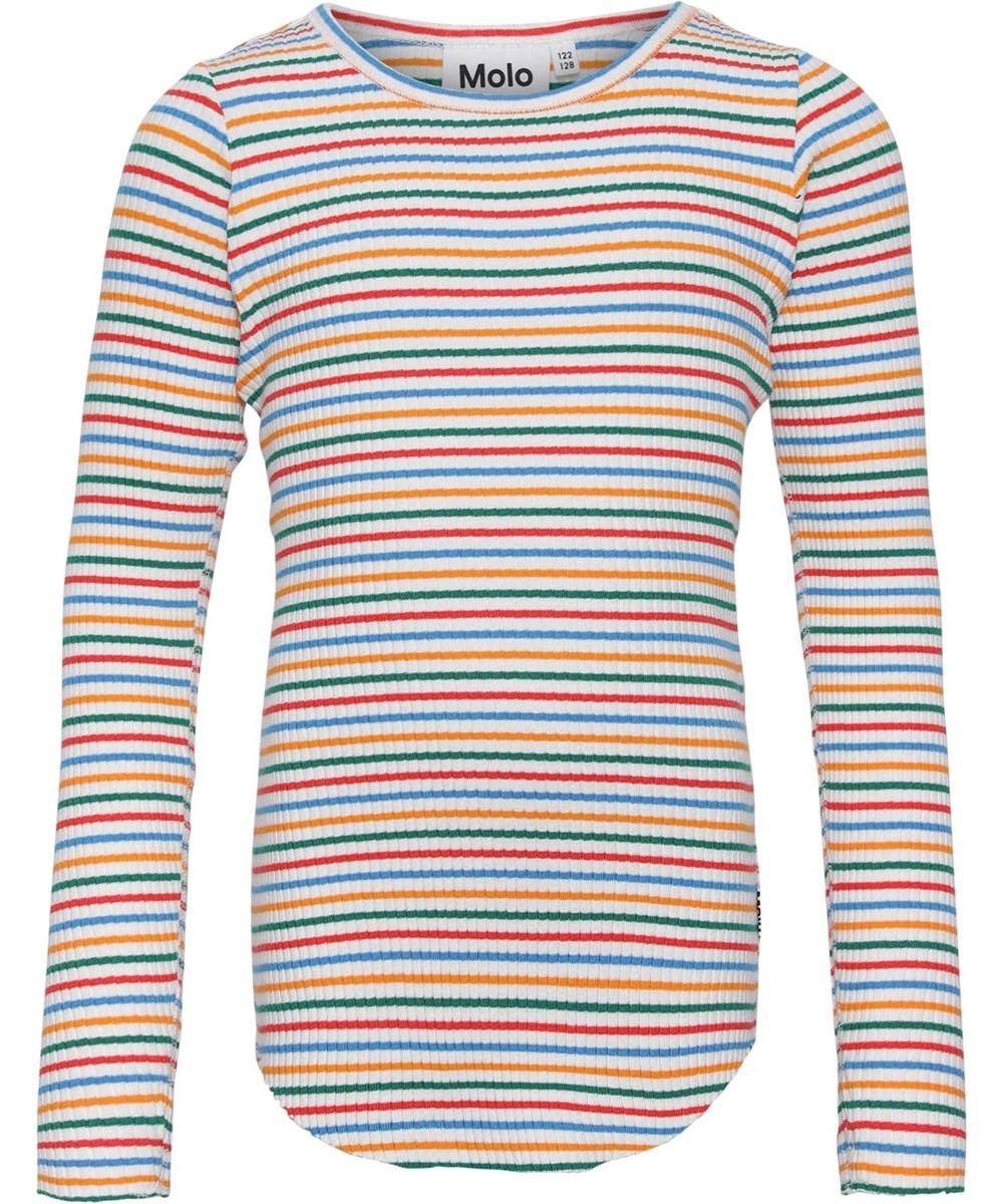 Rochelle - Fine Rainbow Stripe - Økologisk regnbue rib bluse