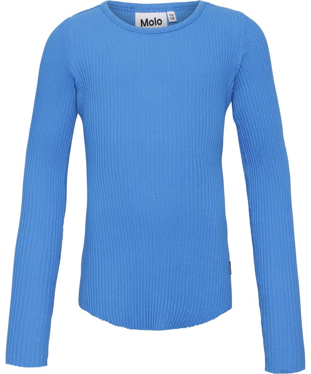 Rochelle - French Blue - Økologisk blå rib bluse