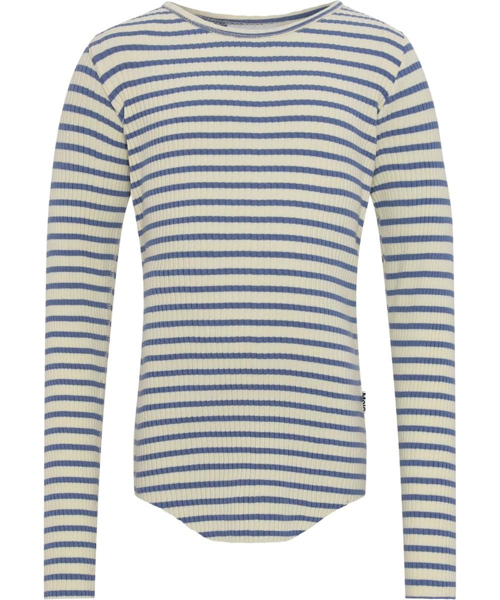 Rochelle - Marzipan Blue Stripe - Økologisk lysegul og blå stribet rib bluse