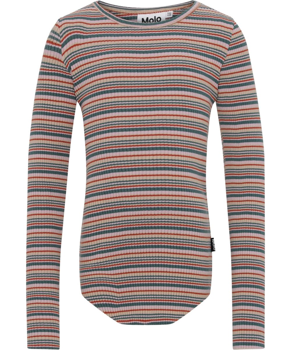 Rochelle - Multistripe - Økologisk rib bluse med striber