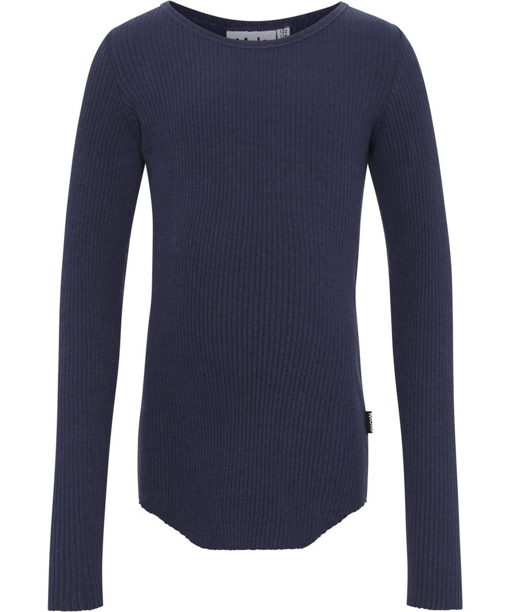 Rochelle - Peacoat - Økologisk blå rib bluse