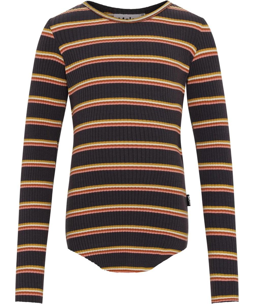 Rochelle - Purple Night Stripe - Økologisk brun rib bluse med striber