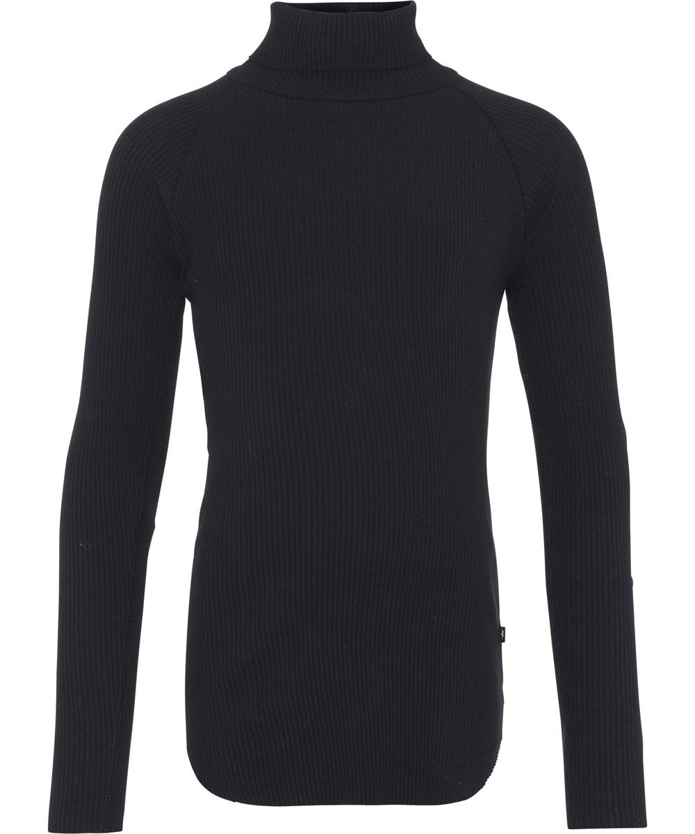 Romaine - Black - Økologisk sort rib bluse