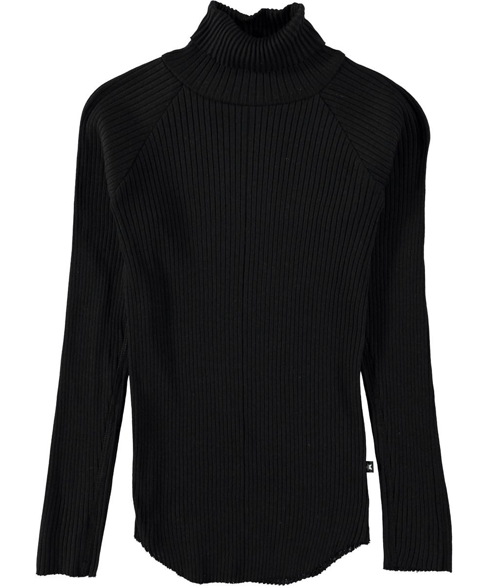Romaine - Black - Sort bluse i rib med rullekrave