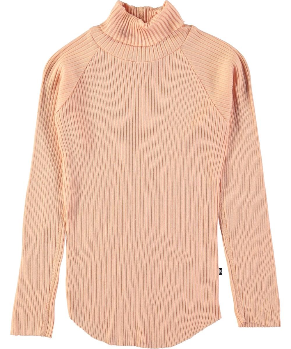 Romaine - Dusty Pink - Pudderfarvet bluse i rib med rullekrave