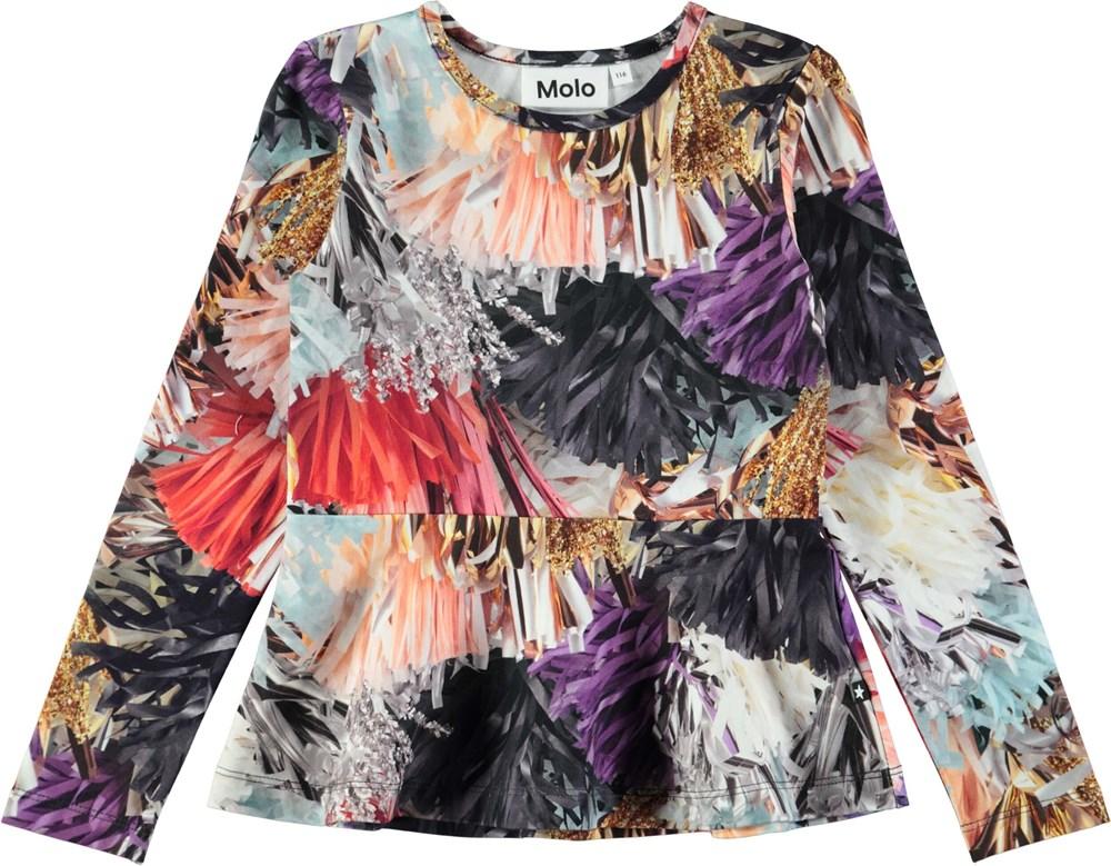 Rosalind - Celebration - Langærmet bluse med digitalprintede, festlige kvaster og skørt