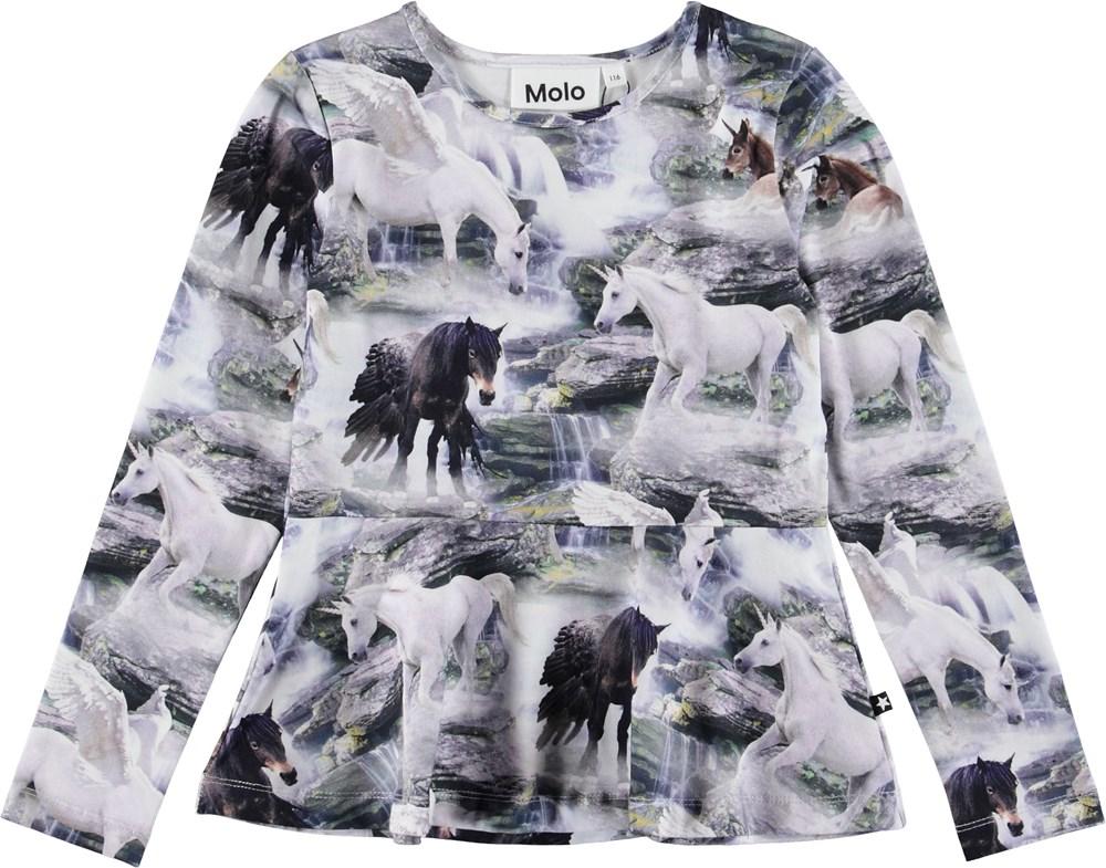 Rosalind - Mythical Creatures - Bluse med heste med vinger.