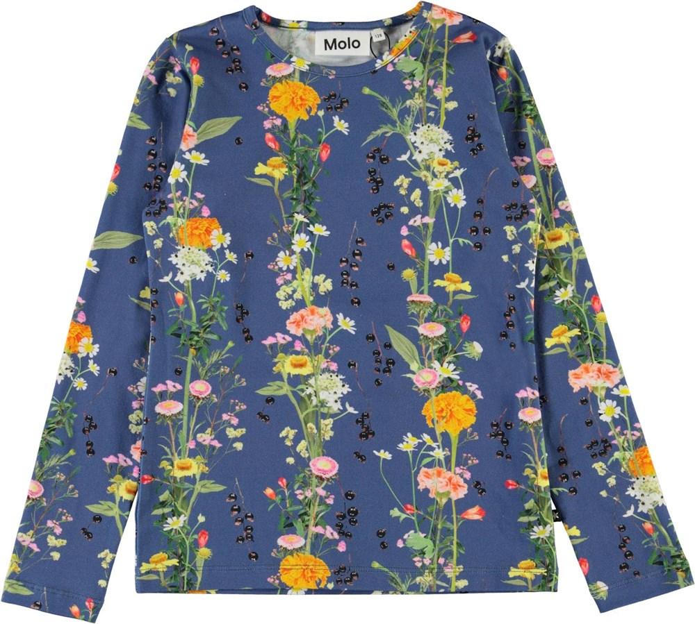 Rose - Vertical Flowers - Økologisk blå bluse med blomster