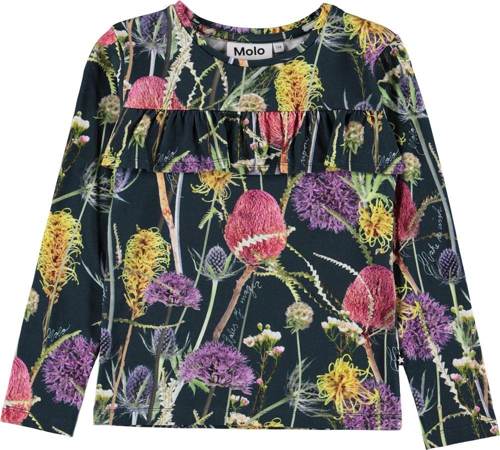 Rosita - Sleeping Beauty - Bluse med flæse og blomster.