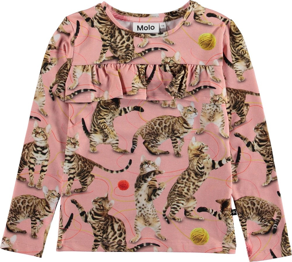 Rosita - Wannabe Leopard - Lyserød bluse med katte.