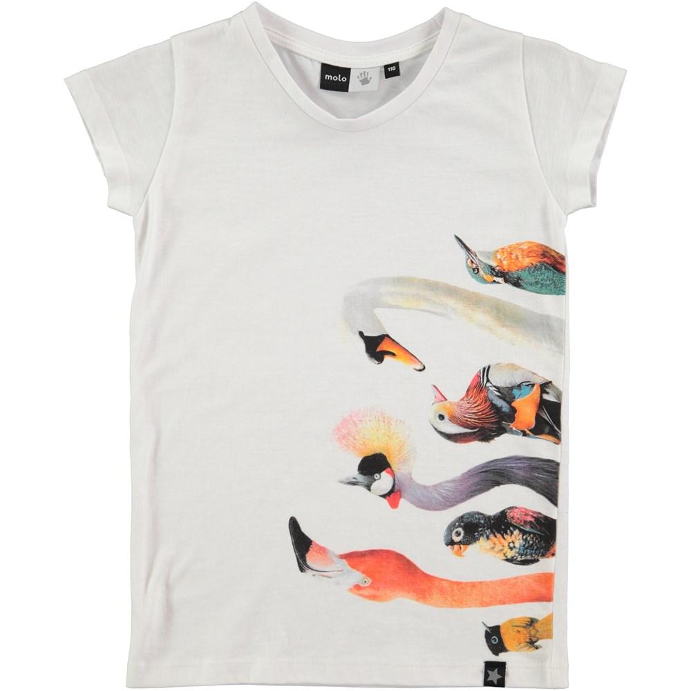 Rozalia - White - kortærmet hvid t-shirt med fugleprint