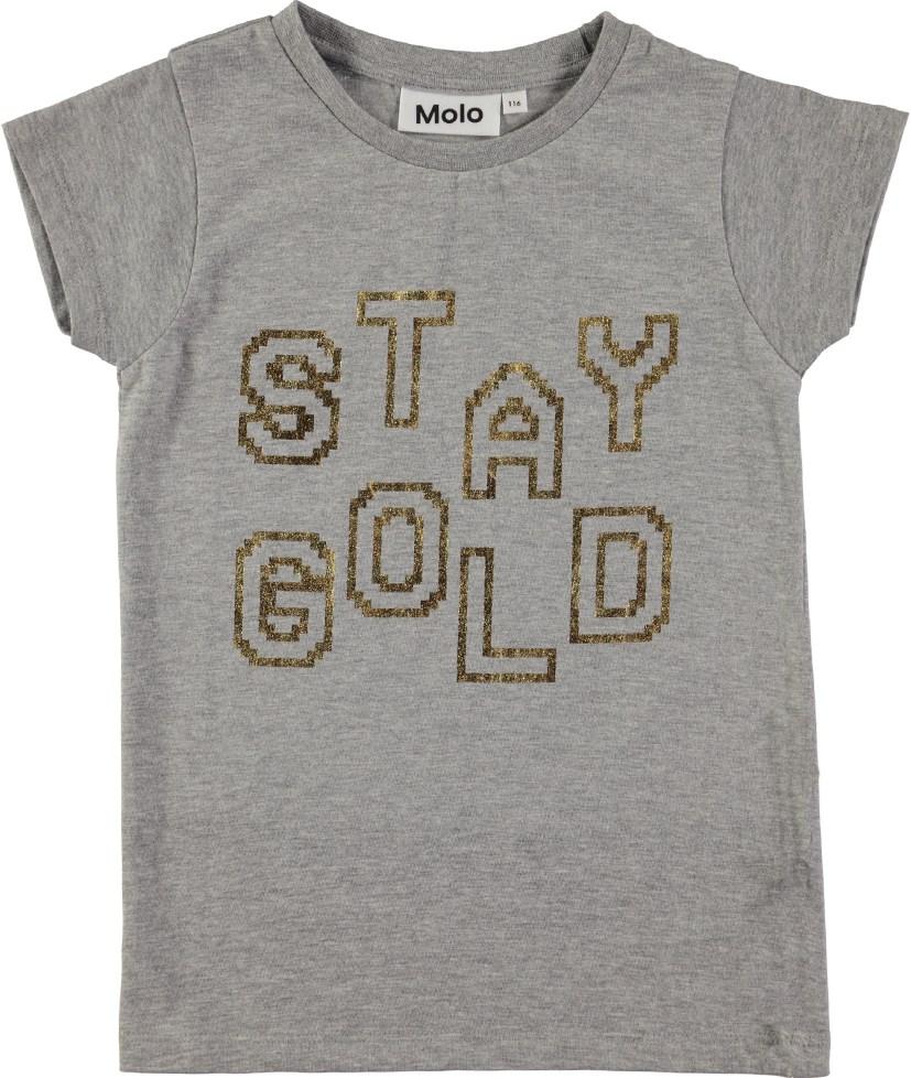 Ruana - Stay Gold - Grå t-shirt med guldbogstaver