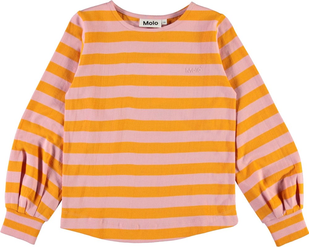 Rylee - Citrus Stripe - Økologisk rosa og orange stribet bluse