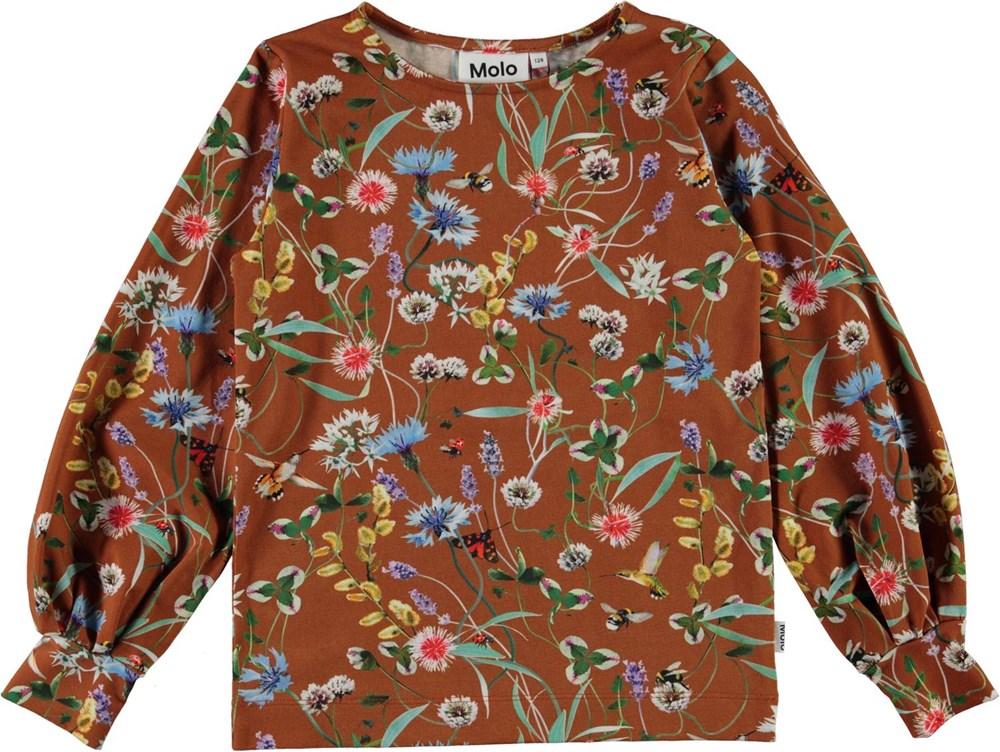 Rylee - Wildflowers - Økologisk brun bluse med vilde blomster