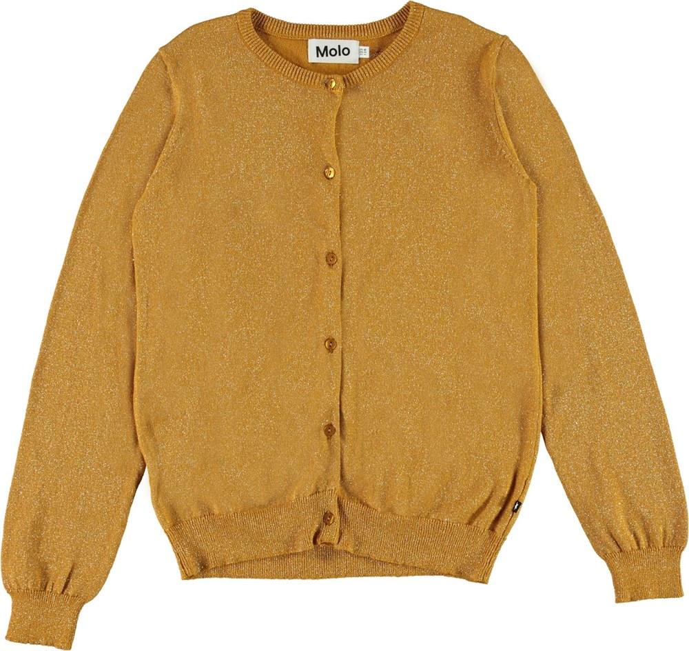 Georgina - Autumn Leaf - Gylden bomulds cardigan med glimmer