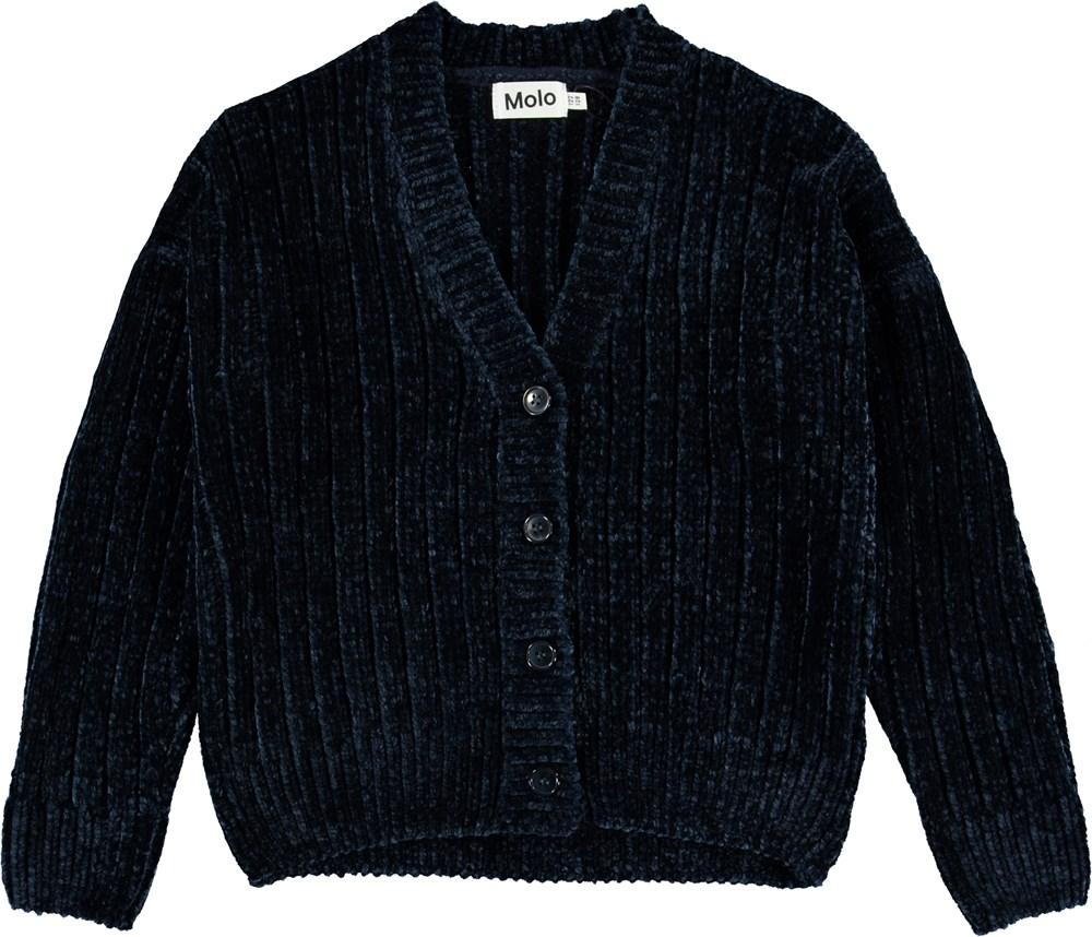 Gianna - Ink Blue - Mørkeblå chenille strik cardigan