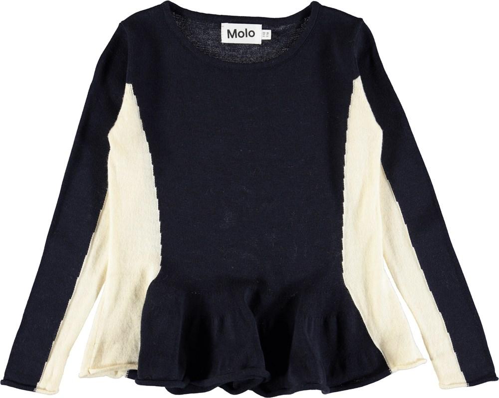 Gilda - Dark Navy - Mørkeblå, strikket bluse med peplum