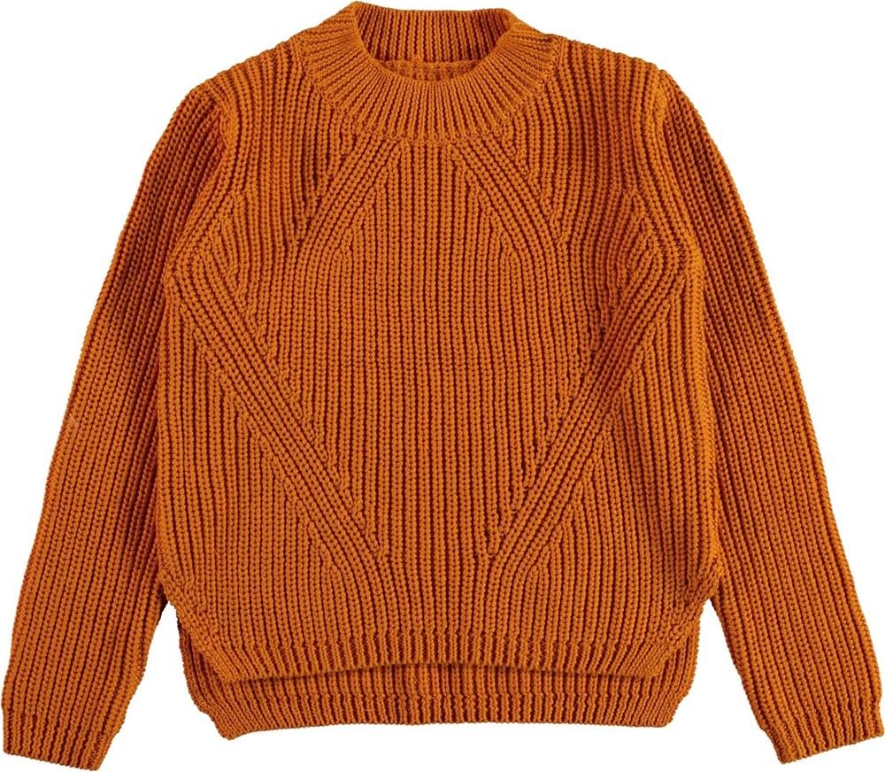 Gillis - Autumn - Økologisk brun bomulds strik bluse