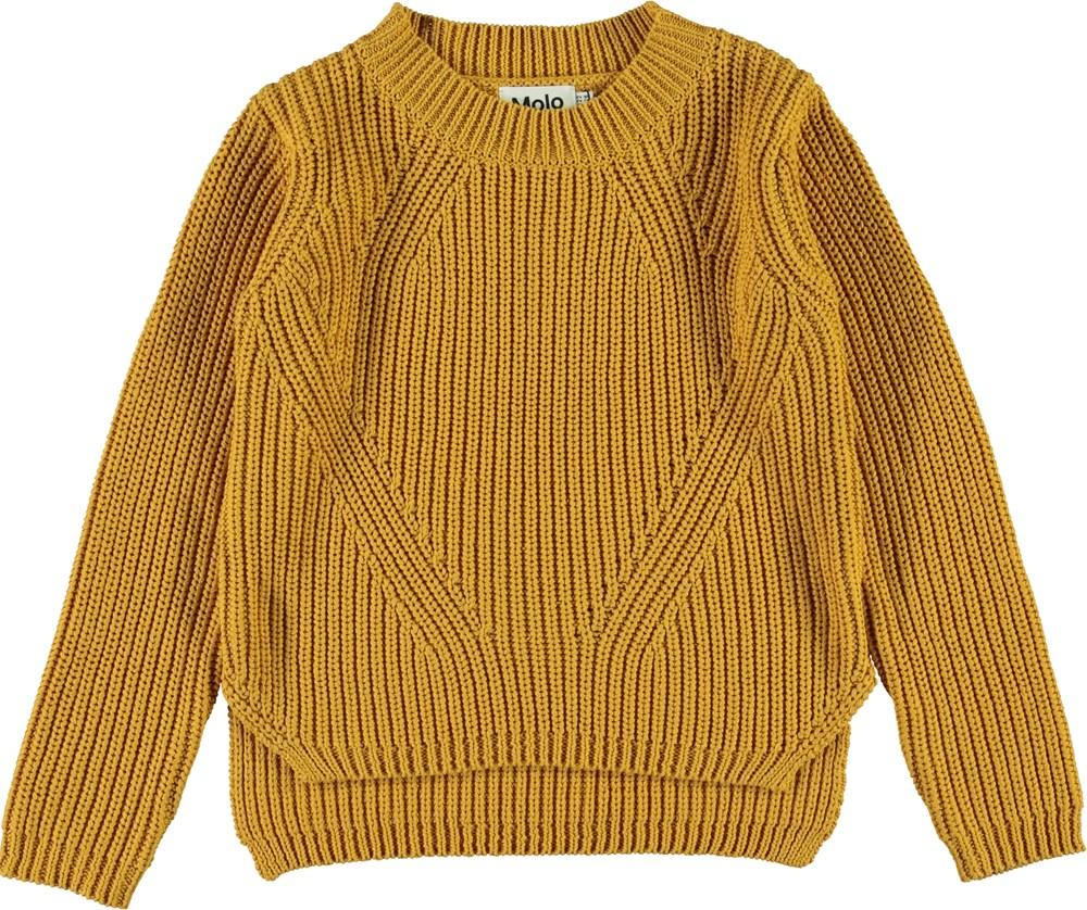 Gillis - Autumn Leaf - Gylden bomulds strik bluse