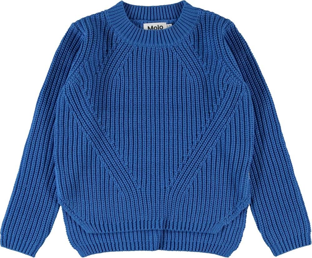 Gillis - French Blue - Blå bomulds strikbluse
