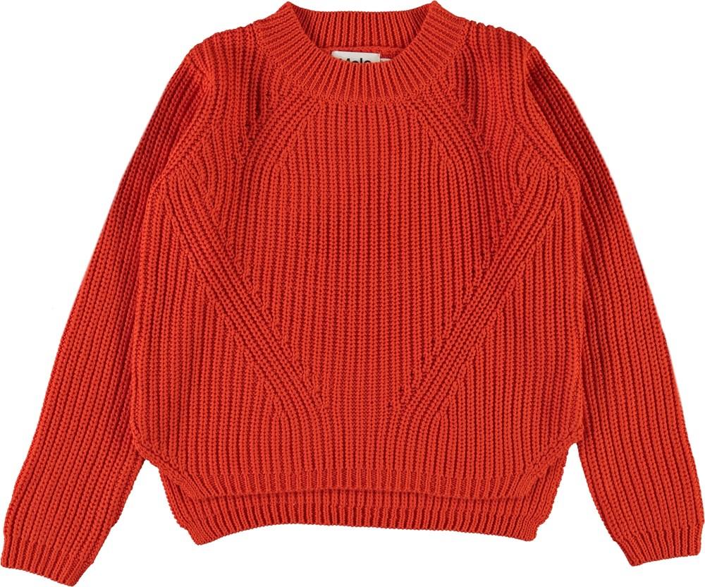 Gillis - Rising Sun - Orange rød bomulds strik bluse