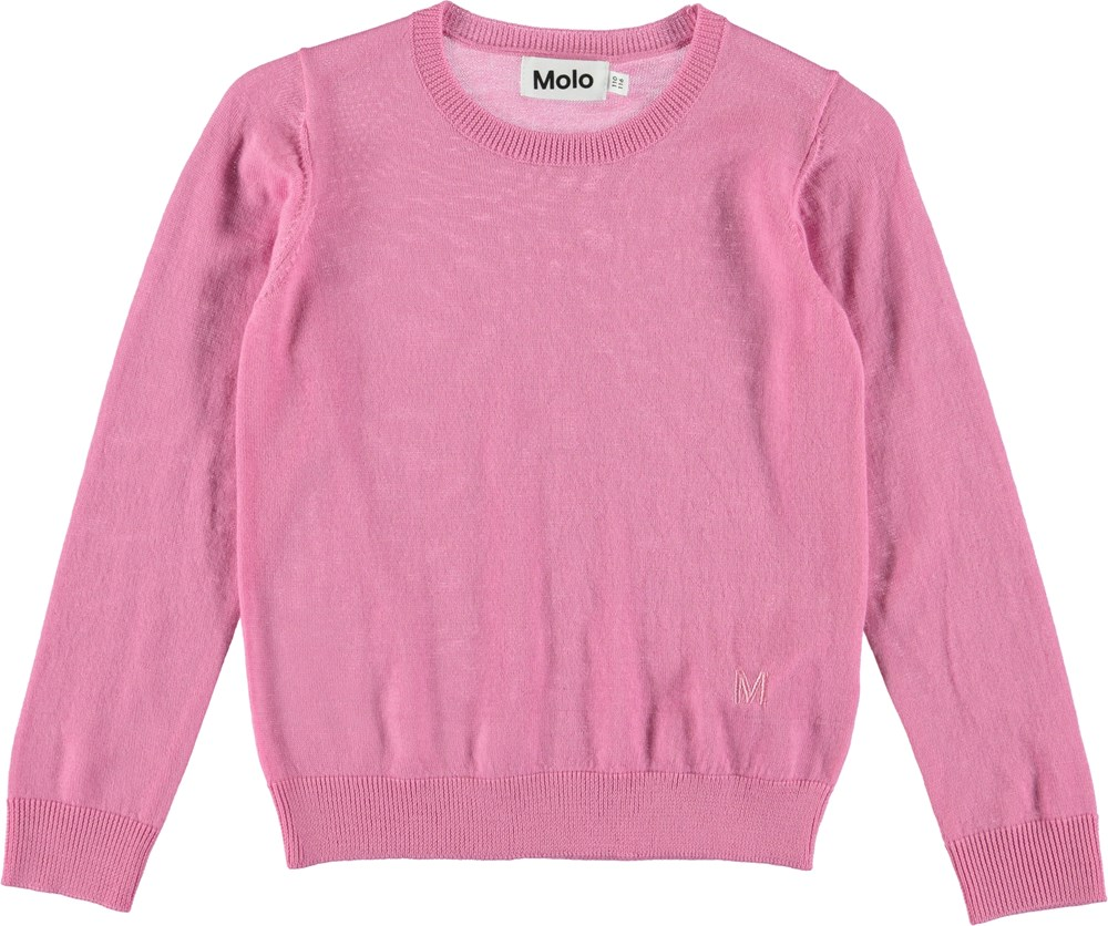 Giselle - Bubblegum - Pink pullover i merino uld