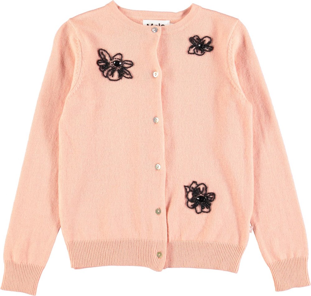 Gretchen - Dusty Pink - Lækker cardigan i uldmix med broderi