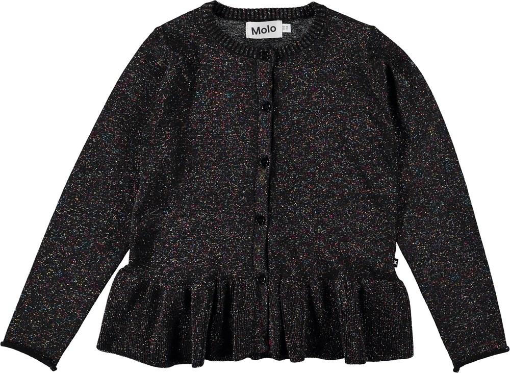 Gulia - Black - Sort cardigan med glimmer.