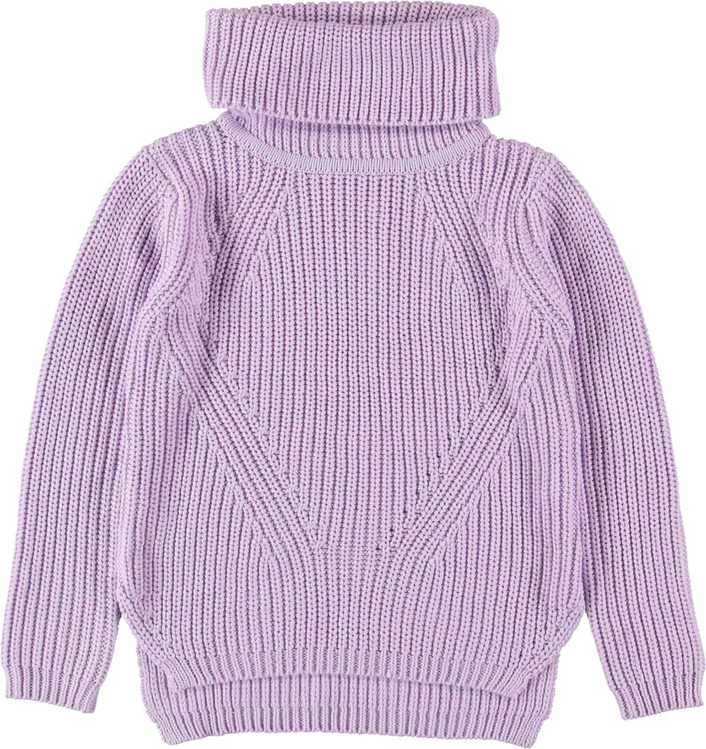 Gurly - Frozen Lilac - Lilla rullekrave strikbluse