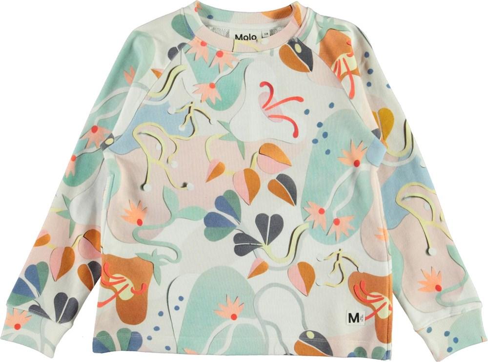 Maddie - Papercut Sweat - sweatshirt med pastelfarvet print