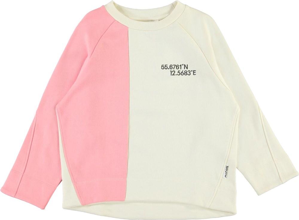 Maggie - Hyper Ivory - Lyserød og beige sweatshirt